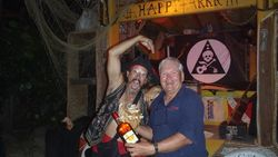 Bill Winning Bottle of Mt. Gay at Leverick  B ay's Happy Arrr