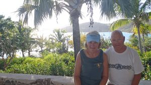 Ted and Jane Overlooking Marina Cay Anchorage