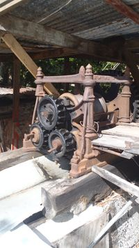 Old yet working Cane press at Callwood Distillary