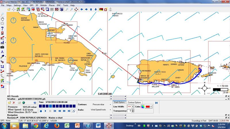 Screen Snap of GRIB Outlook for Mona Passage