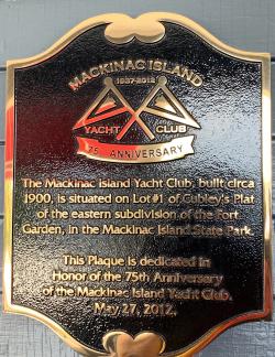 Plaque at Mackinac Island Yacht Club