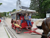 Some chose to take a horse-drawn taxi to Brunch at Mission Point