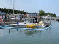 Detour Boat raised with Air Bags