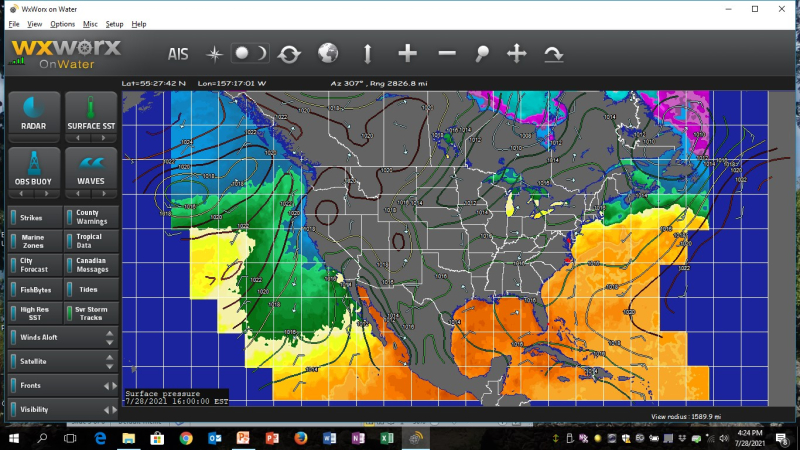 WXWork Isobar overlay plus wind gribs and sea surface temp